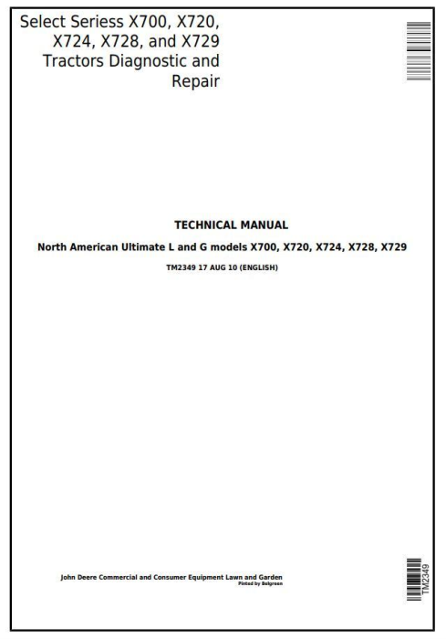 First Additional product image for - John Deere X700, X720, X724, X728, X729 Lawn Tractors Ultimate Select Series Technical Manual (tm2349)
