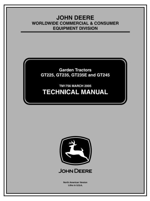 First Additional product image for - John Deere GT225, GT235, GT235E, GT245 L&G Lawn and Garden Tractors Technical Service Manual (tm1756)