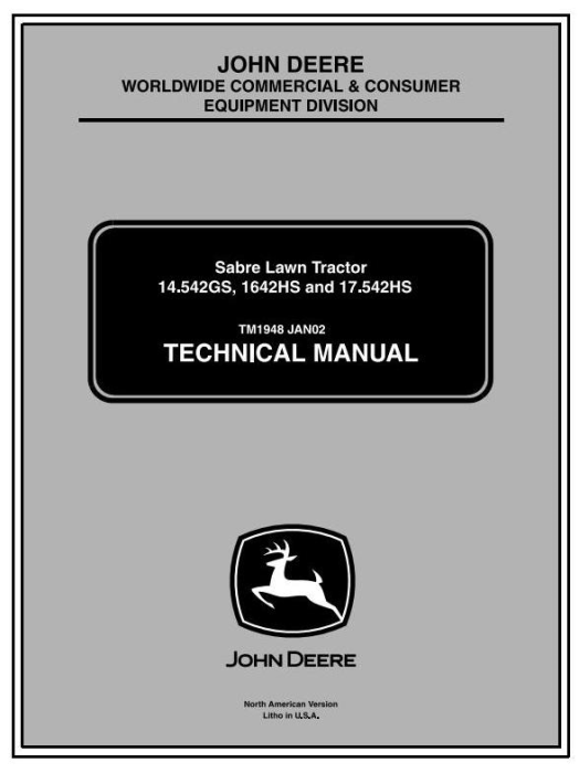 First Additional product image for - John Deere Sabre 1642HS, 14.542GS, 17.542HS, 1442GS Lawn Tractors Technical Service Manual (tm1948)