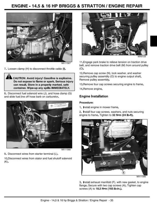 Second Additional product image for - John Deere Sabre 1642HS, 14.542GS, 17.542HS, 1442GS Lawn Tractors Technical Service Manual (tm1948)