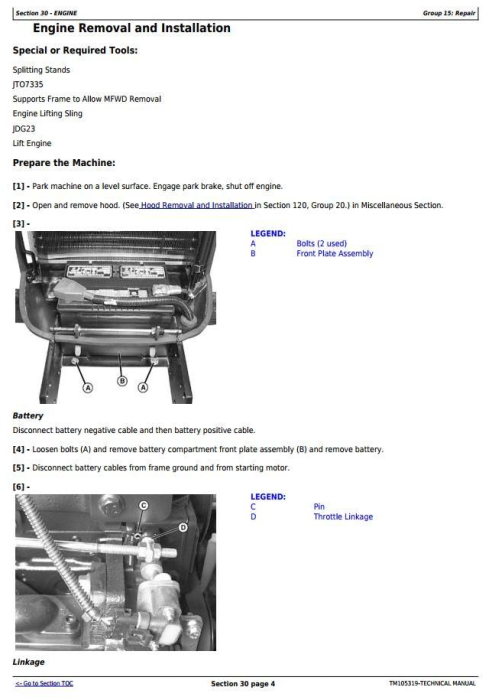 Second Additional product image for - John Deere 4120, 4320 Compact Utility Tractors With Cab (SN. 610001-) Technical Service Manual (TM105319)