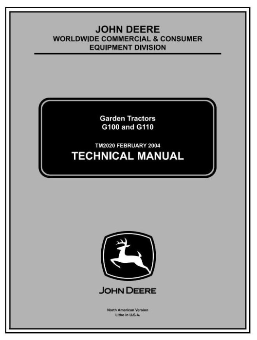 First Additional product image for - John Deere G100, G110 Lawn and Garden Tractors (North America) Technical Service Manual (tm2020)