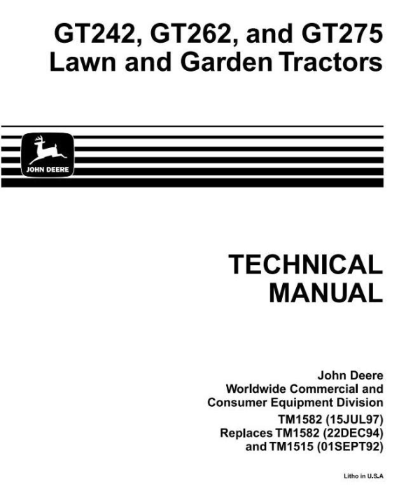 First Additional product image for - John Deere GT242, GT262 & GT275 Lawn and Garden Tractors All Inclusive Technical Service Manual (tm1582)