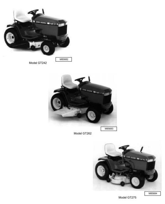 Second Additional product image for - John Deere GT242, GT262 & GT275 Lawn and Garden Tractors All Inclusive Technical Service Manual (tm1582)