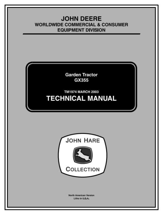 First Additional product image for - John Deere GX355D Lawn and Garden Tractors Technical Service Manual (tm1974)