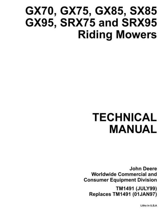 First Additional product image for - Riding Mowers Type GX70, GX75, GX85, GX95, SRX75, SRX95, SX85 Technical Service Manual (tm1491)