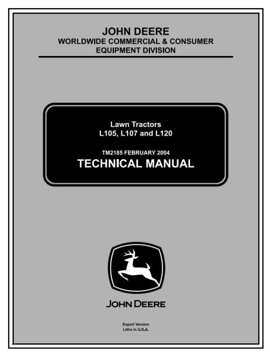 First Additional product image for - John Deere L105, L107, L120 Lawn Tractors Diagnostic and Repair Technical Service Manual (TM2185)