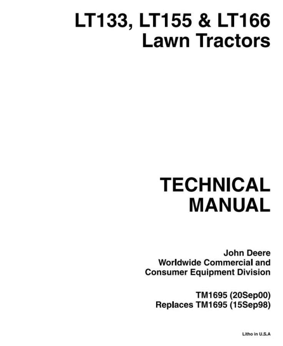 First Additional product image for - John Deere LT133, LT155, LT166 Riding Lawn Tractors Diagnostic and Repair Technical Service Manual TM1695