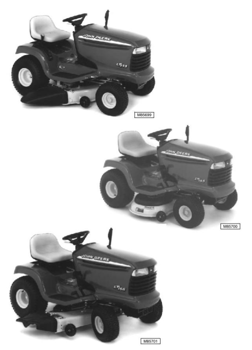 Second Additional product image for - John Deere LT133, LT155, LT166 Riding Lawn Tractors Diagnostic and Repair Technical Service Manual TM1695