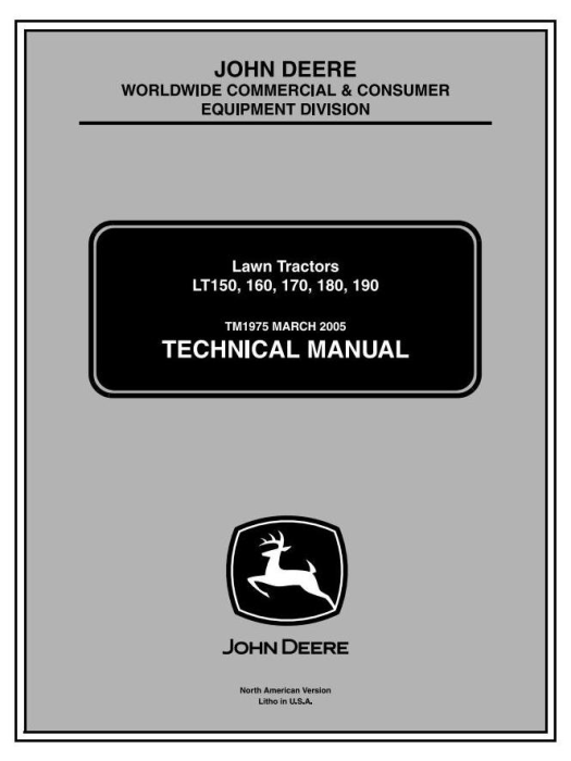 First Additional product image for - John Deere LT150, LT160, LT170, LT180, LT190 Lawn Tractors Technical Service Manual (tm1975)