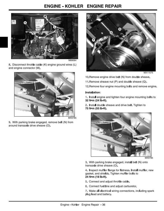 Second Additional product image for - John Deere LT150, LT160, LT170, LT180, LT190 Lawn Tractors Technical Service Manual (tm1975)