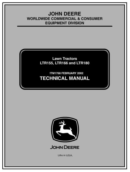 First Additional product image for - John Deere LTR155, LTR166, LTR180 Lawn Tractors Diagnostic and Repair Technical Service Manual (TM1768)