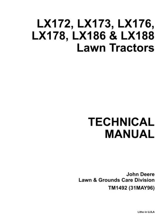 First Additional product image for - John Deere LX172, LX173, LX176, LX178, LX186, LX188 Riding Lawn Tractors Technical Service Manual TM1492