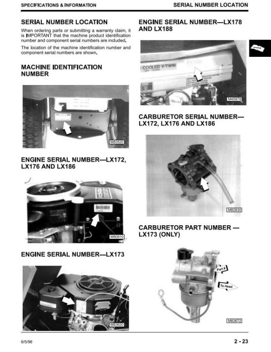 Second Additional product image for - John Deere LX172, LX173, LX176, LX178, LX186, LX188 Riding Lawn Tractors Technical Service Manual TM1492