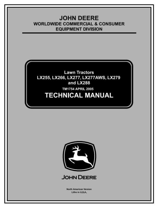 First Additional product image for - John Deere LX255, LX266, LX277, LX277AWS, LX279, LX288  Lawn Tractors Technical Service Manual (tm1754)