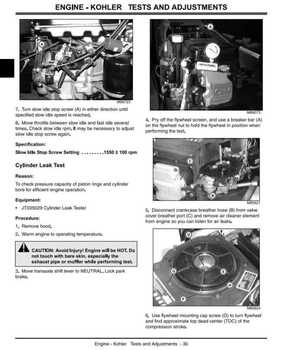 Second Additional product image for - John Deere LX255, LX266, LX277, LX277AWS, LX279, LX288  Lawn Tractors Technical Service Manual (tm1754)