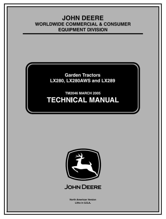 First Additional product image for - John Deere LX280, LX280AWS, LX289 (SN.100001-) Lawn Tractors Technical Service Manual (tm2046)
