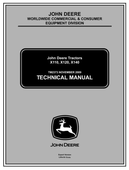 First Additional product image for - John Deere X110, X120, X140 Lawn Tractors (EXPORT) Diagnostic and Repair Technical Service Manual TM2373