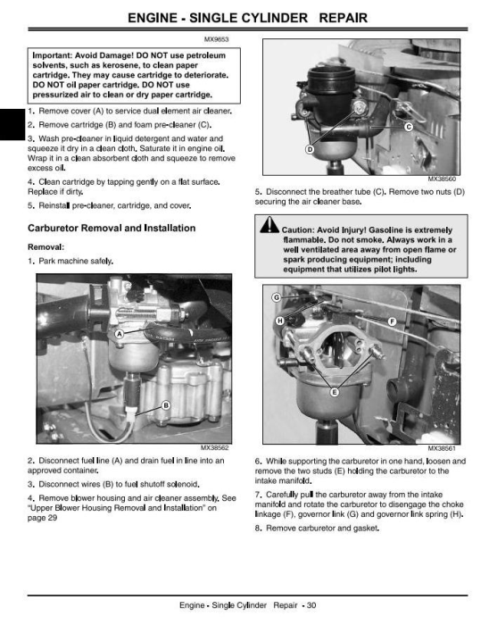 Second Additional product image for - John Deere X110, X120, X140 Lawn Tractors (EXPORT) Diagnostic and Repair Technical Service Manual TM2373