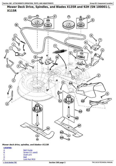 Fourth Additional product image for - John Deere X115R, X135R, X155R, 92H, 107H Riding Lawn Tractors (EXPORT) Technical Service Manual TM113419