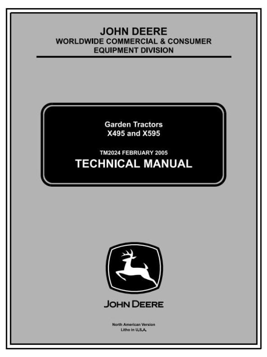 First Additional product image for - John Deere X495, X595 Lawn and Garden Tractors Diagnostic and Repair Technical Service Manual (tm2024)