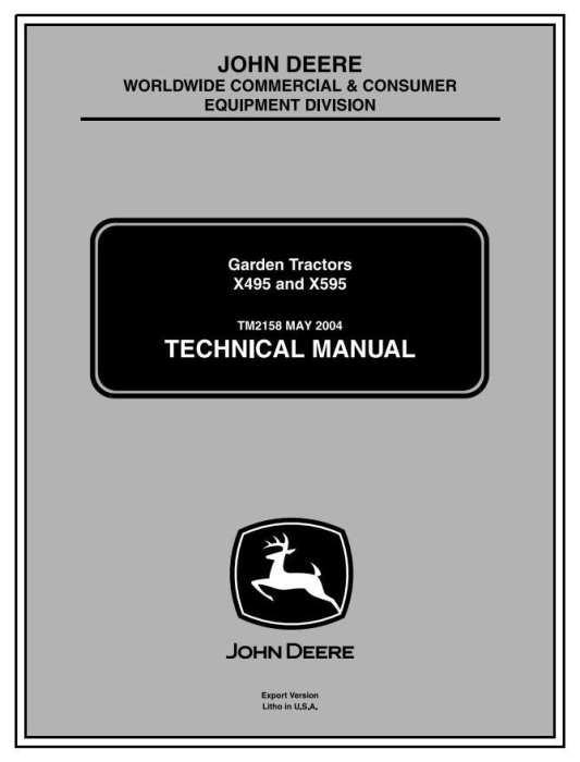 First Additional product image for - John Deere X495, X595 Lawn and Garden Tractors (Export Edition) Technical Service Manual (tm2158)