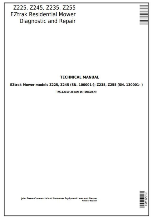 First Additional product image for - John Deere Z225, Z245, Z235, Z255 EZtrak Riding Lawn Residential Mower Technical Service Manual TM112919