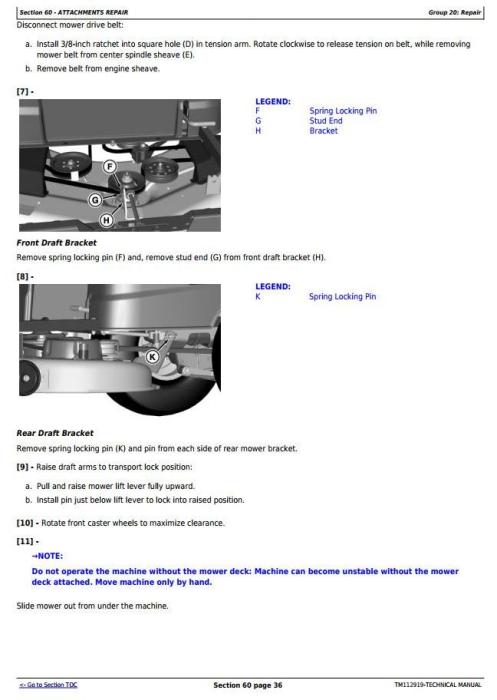 Fourth Additional product image for - John Deere Z225, Z245, Z235, Z255 EZtrak Riding Lawn Residential Mower Technical Service Manual TM112919