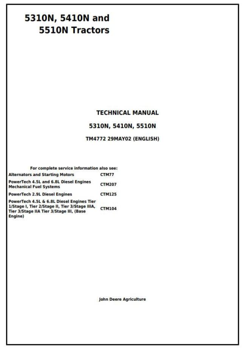 First Additional product image for - John Deere 5310N, 5410N and 5510N (Europe) Tractors Diagnostic and Repair Technical Manual (tm4772)