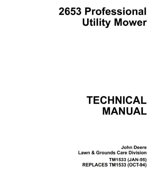First Additional product image for - Professional Utility Mower Type 2653 Diagnostic and Repair Technical  Service Manual (tm1533)