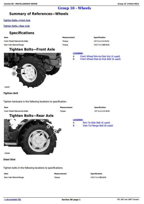 Second Additional product image for - John Deere 76F, 85F and 100F Specialty Tractors Diagnostic and Repair Technical Manual (TM103319)