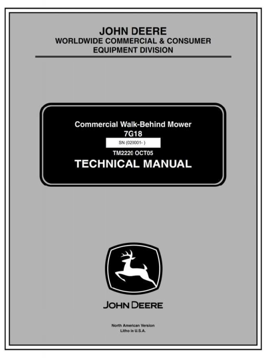 First Additional product image for - Commercial Walk-Behind Mower 7G18 (SN.020001-) Diagnostic, Repair Technical Service Manual (tm2220)