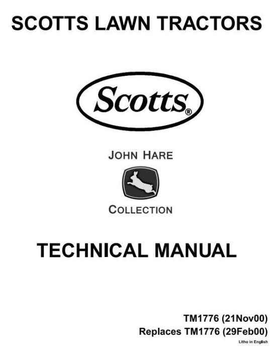 First Additional product image for - Scotts S1642, S1742, S2046, S2546 Limited Edition Lawn Tractors (John Deere) Technical Manual (tm1776)
