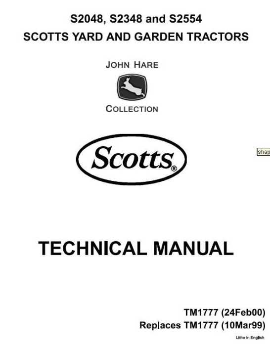 First Additional product image for - Scotts S2048H, S2348H, S2554H Yard & Garden Tractors (John Deere) Technical Service Manual (tm1777)