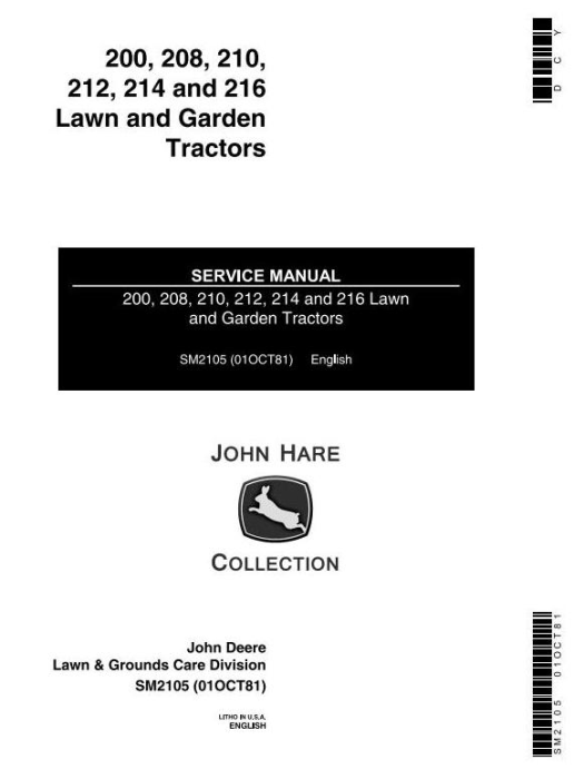 First Additional product image for - John Deere 200, 208, 210, 212, 214, 216 Lawn and Garden Tractors Technical Service Manual (SM2105)