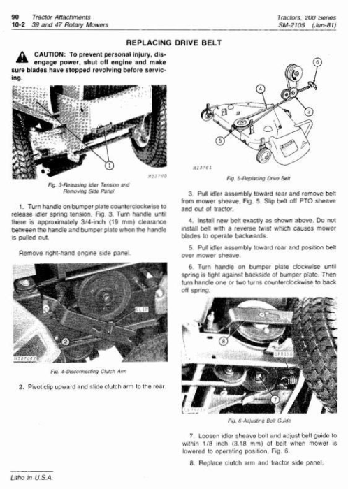 Third Additional product image for - John Deere 200, 208, 210, 212, 214, 216 Lawn and Garden Tractors Technical Service Manual (SM2105)