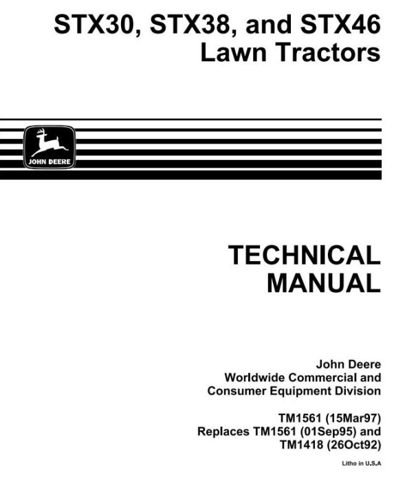 First Additional product image for - John Deere STX38, STX46, STX30D Riding Lawn Tractors Technical Service Manual (tm1561)
