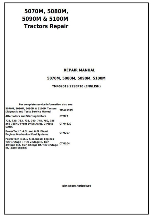 First Additional product image for - 5070M, 5080M, 5090M & 5100M - European Tractors Service Repair Manual (TM402019)