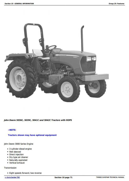 First Additional product image for - John Deere 5036C, 5039C, 5041C, 5042C (India Edition) Tractors Diagnostic, Repair Technical Manual (TM900219)