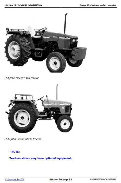Third Additional product image for - Deere Tractors 5203S, 5310, 5310S (India) Diagnostic and Repair Technical Service Manual (tm4898)