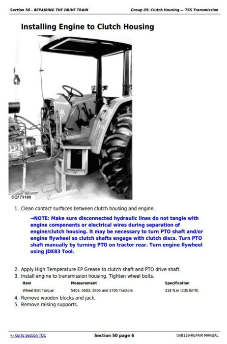 Third Additional product image for - John Deee Tractors 5403, 5600, 5603, 5605, 5700 and 5705 (South America) Repair Service Manual (tm8139)
