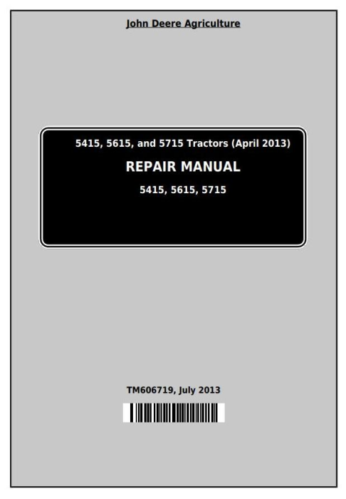 First Additional product image for - John Deere Tractors 5415, 5615, and 5715 Sevice Repair Technical Manual (TM606719)