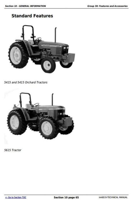 John Deere Tractors 5415, 5415N, 5415H, 5615, 5615HC, 5715