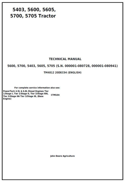 First Additional product image for - John Deere 5403, 5600, 5605, 5700, 5705 Brazil Tractors Technical Manual (tm4812)