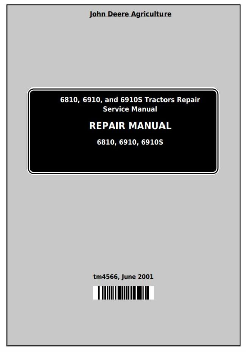 First Additional product image for - John Deere Tractors 6810, 6910, and 6910S Service Repair Technical Manual (TM4566)