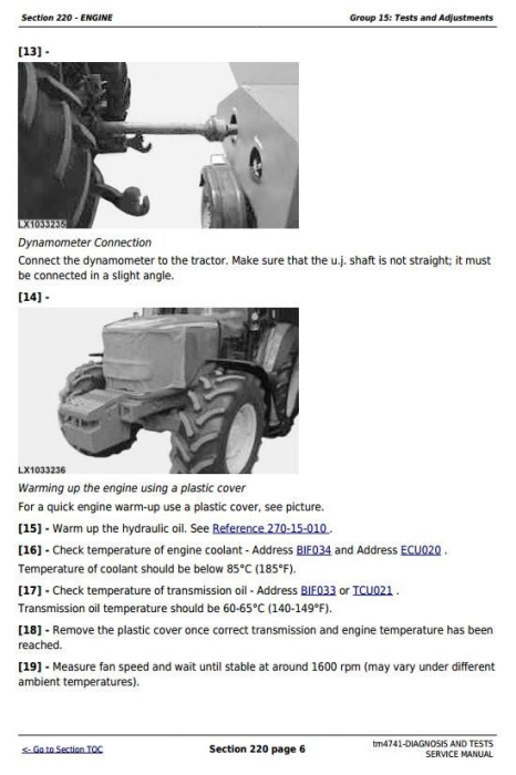 Fourth Additional product image for - John Deere Tractors 6020, 6120, 6220, 6320, 6420, 6520, 6620, 6820, 6920 (S,SE) Diagnostic Manual TM4741
