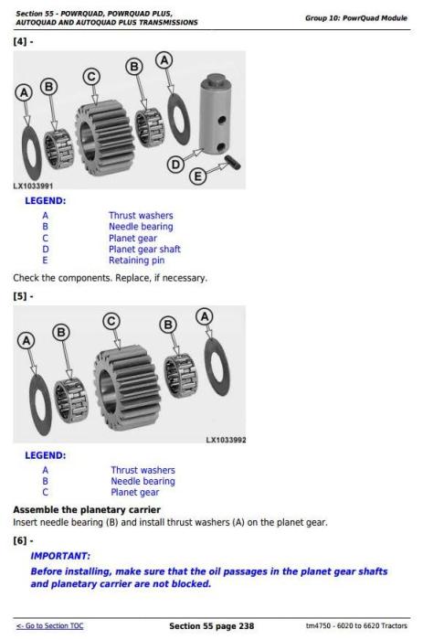 Fourth Additional product image for - John Deere Tractors 6020, 6120, 6220, 6320, 6420, 6520, 6620 (S,SE) European models Repair Manual TM4750