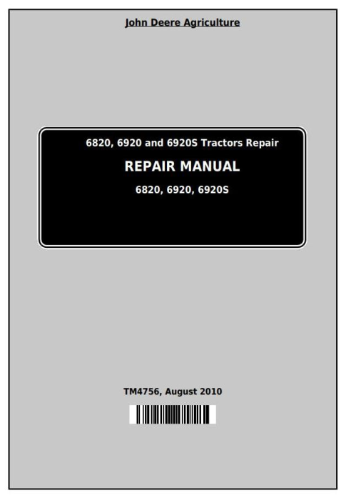 First Additional product image for - John Deere Tractors 6820, 6920 and 6920S Service Repair Technical Manual (TM4756)