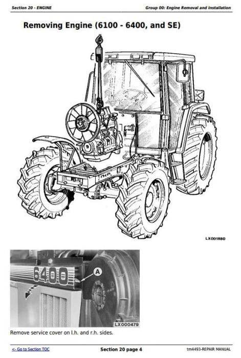 Fourth Additional product image for - John Deere Tractors 6100, 6200, 6300, 6400, 6506, 6600, SE6100,SE6200,SE6300 Service Repair Manual TM4493