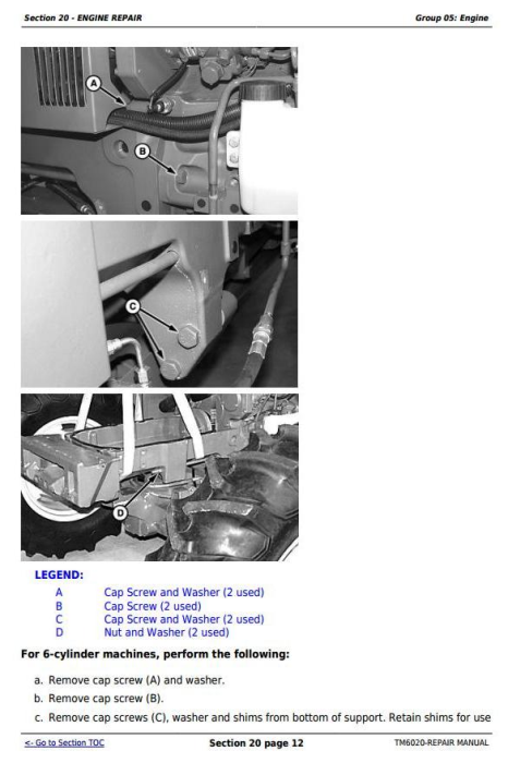 Sixth Additional product image for - John Deere Tractors 6103, 6203, 6403 and 6603 (Latin American) Service Repair Technical Manual (TM6020)